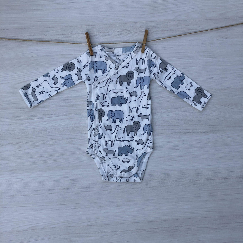 Carter's Body/Pilucho BODY BEBE BLANCO CON ESTAMPADO DE ANIMALES 6 A 9 MESES