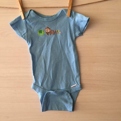 Gerber Body/Pilucho BODY CELESTE ANIMALITOS BORDADOS 0 A 3 MESES