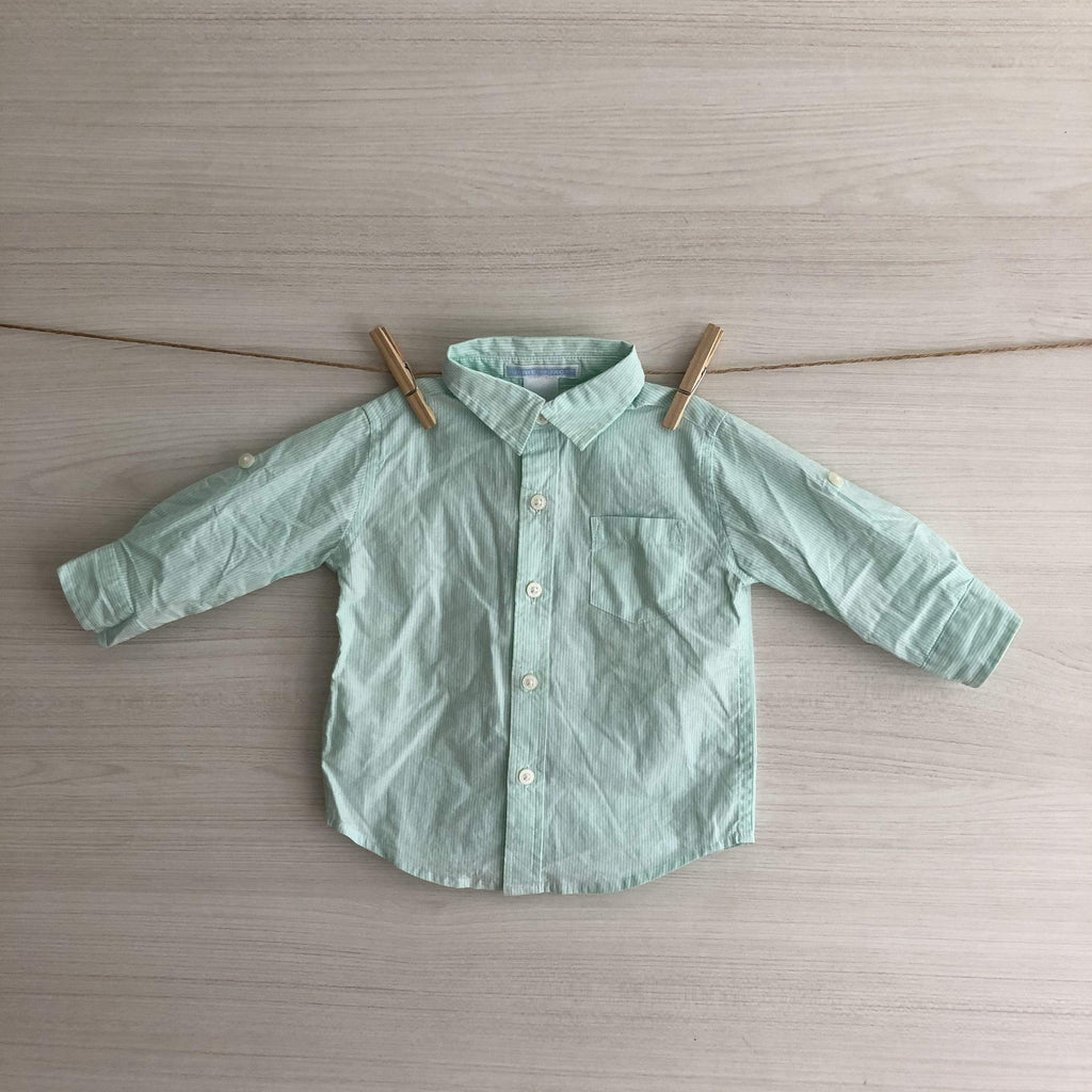 Janie and Jack Camisas/Poleras CAMISA RAYAS VERDE AGUA 3 A 6 MESES
