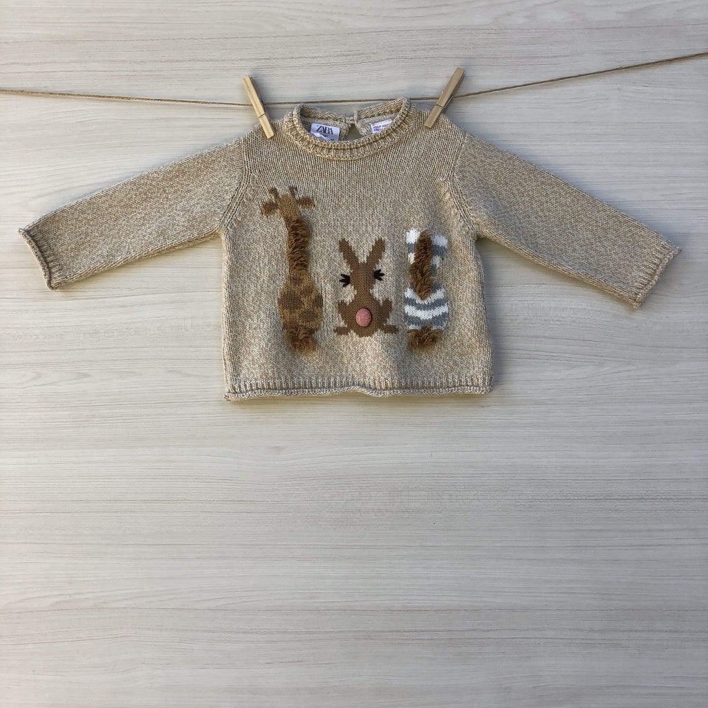 Zara Chalecos/Sweaters CHALECO BEIGE ANIMALES 9 A 12 MESES
