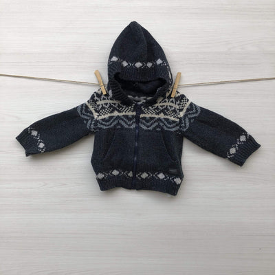 Minimimo Chalecos/Sweaters CHALECO GRIS CON DIBUJOS BLANCOS 6 A 9 MESES