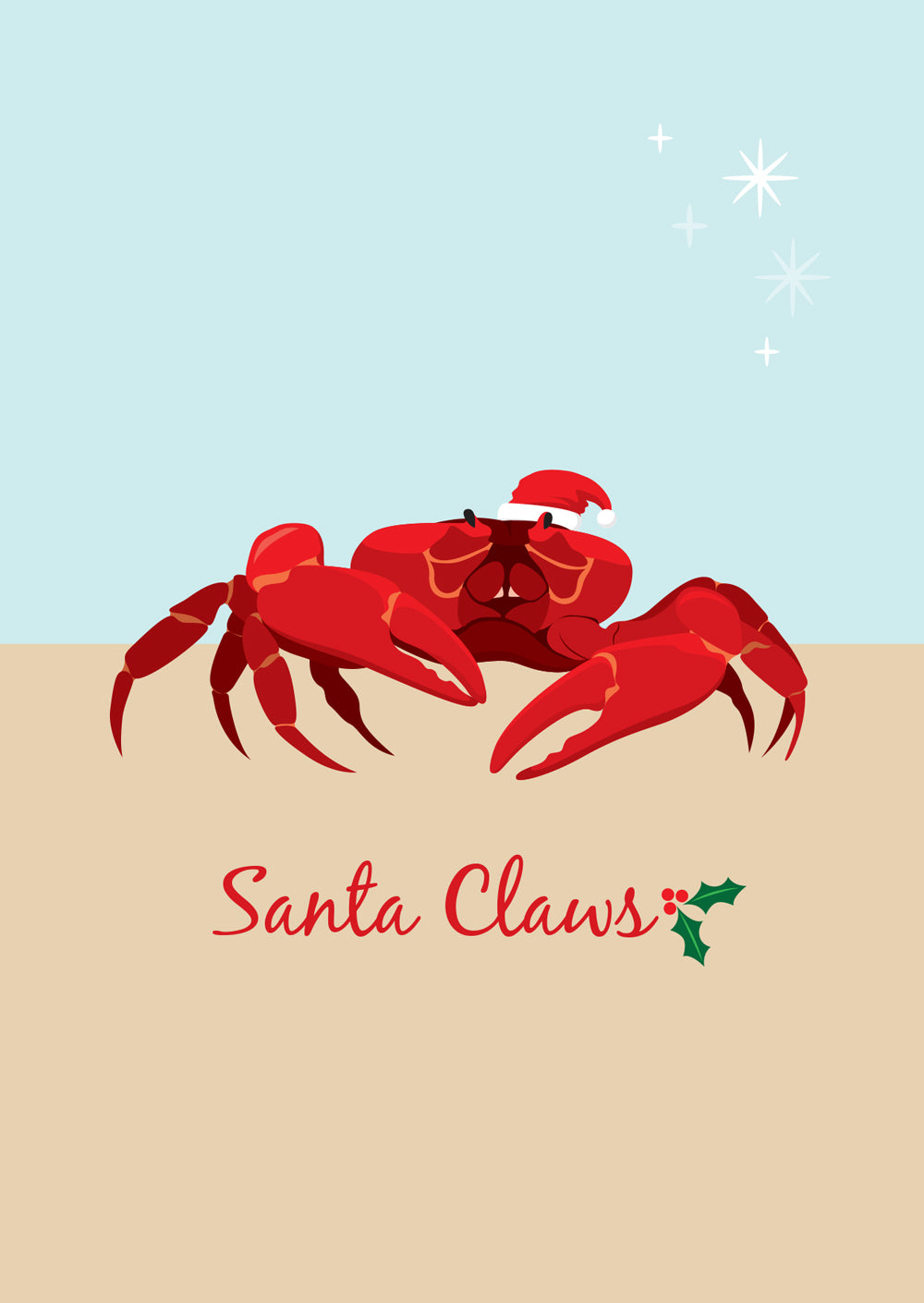Christmas Card - Christmas Island Red Crab Santa Claws A6