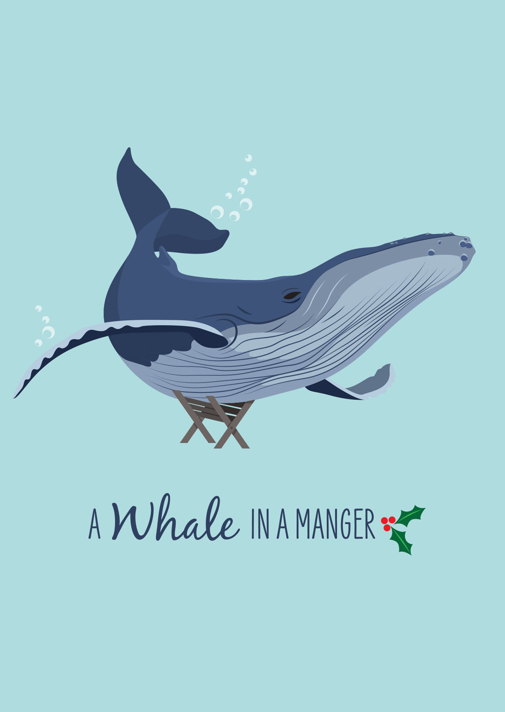 Christmas Card - Humpback A Whale in a Manger