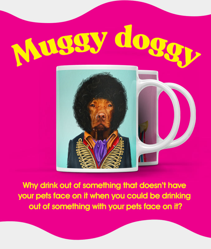 Popbuddie mobile image introducing the section of personalized coffee mugs. Mugs with your pets face on it, dressed as a celebrity. The image is showing a mug with a pet dressed as Jimi Hendrix, called Jimi Houndrix. It's a mug mug. Get it?