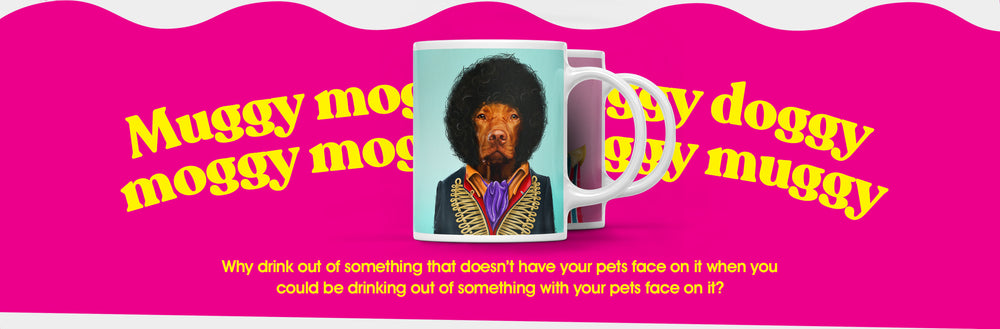 Popbuddie desktop image introducing the section of personalized coffee mugs. Mugs with your pets face on it, dressed as a celebrity. The image is showing a mug with a pet dressed as Jimi Hendrix, called Jimi Houndrix. It's a mug mug. Get it?