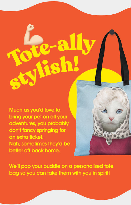 Popbuddie mobile image showing a blue tote bag with Marilyn Monroar on it. The text is explaining that you up until now couldn't travel with your pet everywhere, but now you can. The image is tote-ally awesome, and so are you!