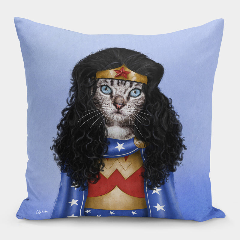 Meownder Woman Pillow