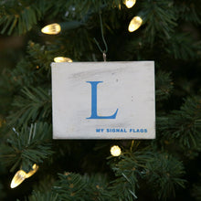 "Load image into Gallery viewer, ""L"" Flag Vintage Ornament - mysignalflags"