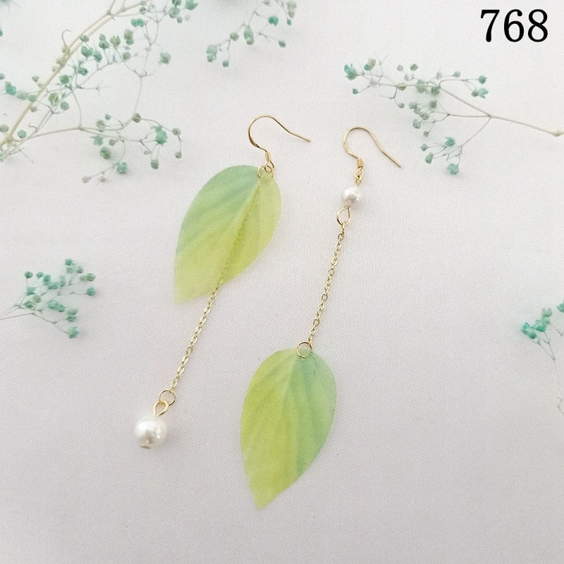 White Pearl Crazy Green Leaf Earring for Women