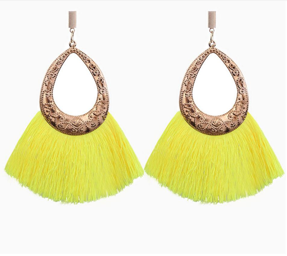 Yellow Party Wear Trendy Tassel Earrings for Girls