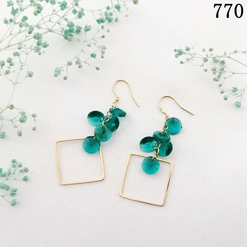 Trendy Square Shape Blue Earrings for Women