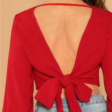 Load image into Gallery viewer, Bishop Sleeve Backless Knot Crop Top