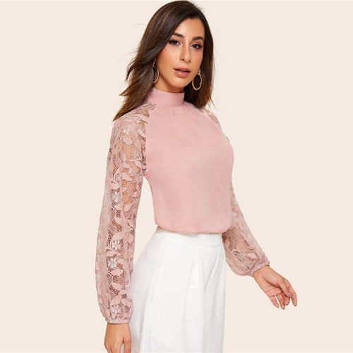Contrast Lace Patchwork Blouse