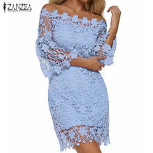 Load image into Gallery viewer, Patchwork Lace Off Shoulder Dress