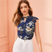 Load image into Gallery viewer, Floral Print Lace Sleeve Top