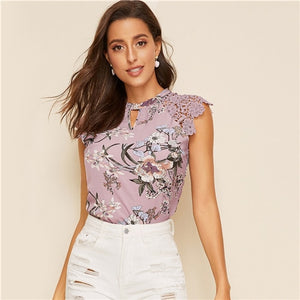Floral Print Lace Sleeve Top