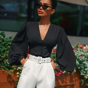 V-Neck Black Button Lantern Sleeve Blouse
