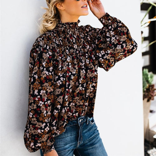 High Collar Floral Blouse