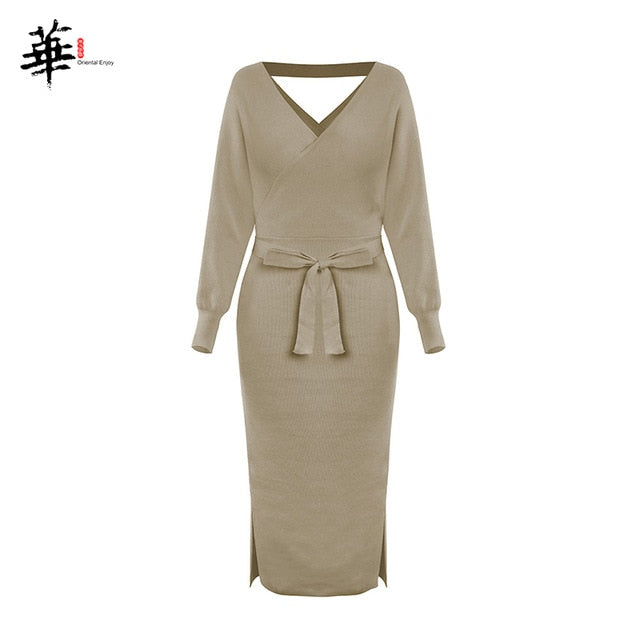 V Neck With Cross Belt Sweater Knitted Dress