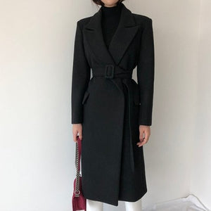 Belted Wool Long Coat