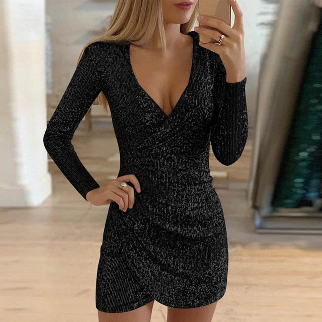 Sequin Glitter Shiny Slit Mini Dress