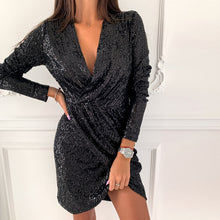 Load image into Gallery viewer, Sequin Glitter Shiny Slit Mini Dress