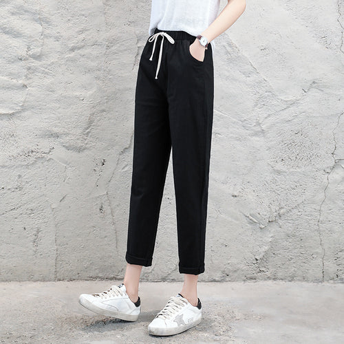 Cotton Linen Ankle Joggers