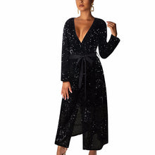 Load image into Gallery viewer, Deep V Neck Sequin Dress