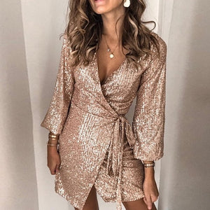 V-Neck Sequin Wrap Bodycon Dress