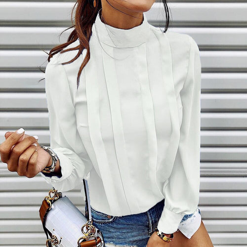 Turtleneck Pleated Top