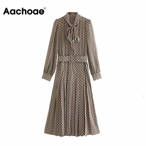 Women Elegant Long Dress With Belt Chain Print Bow Tie Neck Office Lady Shirt Dress Puff Long Sleeve Pleated Dress Vestidos