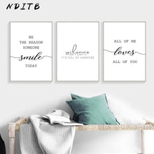 Load image into Gallery viewer, Black White Motivational Love Quote Canvas Posters Inspirational Minimalist Print Wall Art Painting Nordic Decoration Pictures