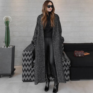 Long Herringbone Wool Coat