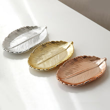 Load image into Gallery viewer, Gloden Ceramic Leaves Plate Tree Leaf Jewelry Snacks Dessert Silver Storage Tray Rose Gold Ceramics Jewelry Enamel Trinket Dish