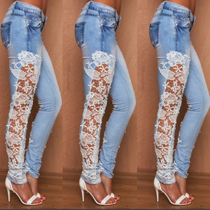 Stretch Lace Floral Side Jeans