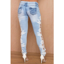 Load image into Gallery viewer, Stretch Lace Floral Side Jeans