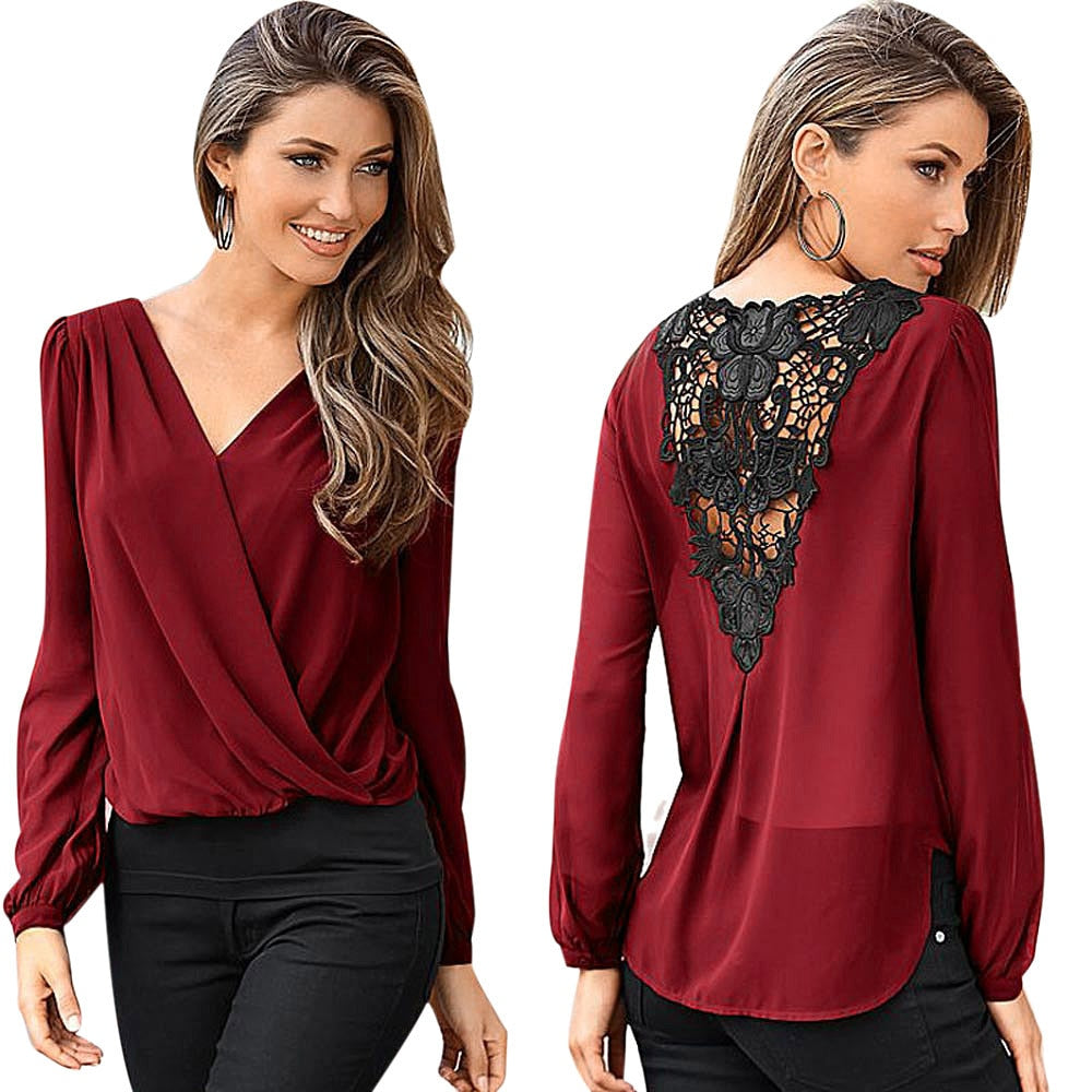 Lace Back V-Neck Top