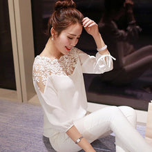 Load image into Gallery viewer, Long Sleeve Lace Chiffon Blouse
