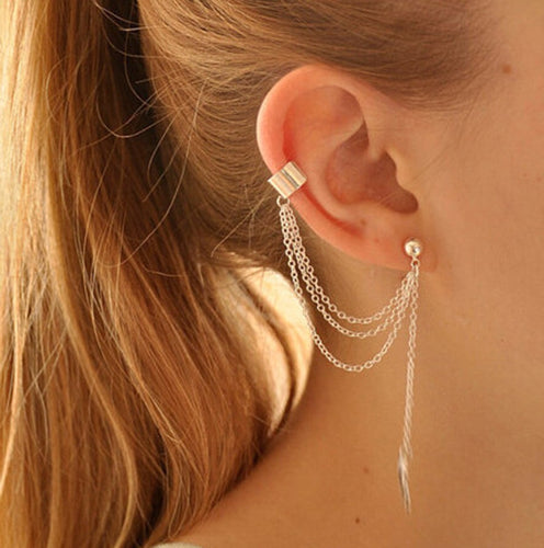 Dangling Leaf Chain Earrings