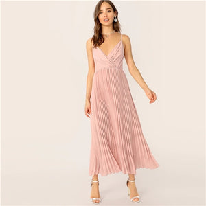 Pleated Cami Fit And Flare Dress