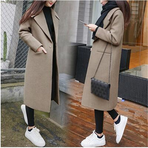 Long Lapel Wool Blend Coat