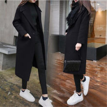 Load image into Gallery viewer, Long Lapel Wool Blend Coat