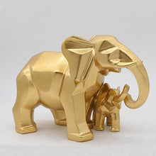 Load image into Gallery viewer, Gold Modern Geometric Gold Elephant Resin Home Decoration Accessories Crafts for Sculpture Statue Ornaments Mother and child