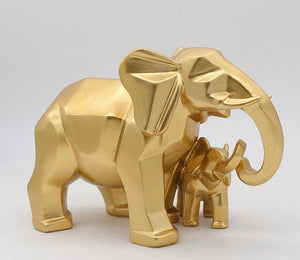 Gold Modern Geometric Gold Elephant Resin Home Decoration Accessories Crafts for Sculpture Statue Ornaments Mother and child