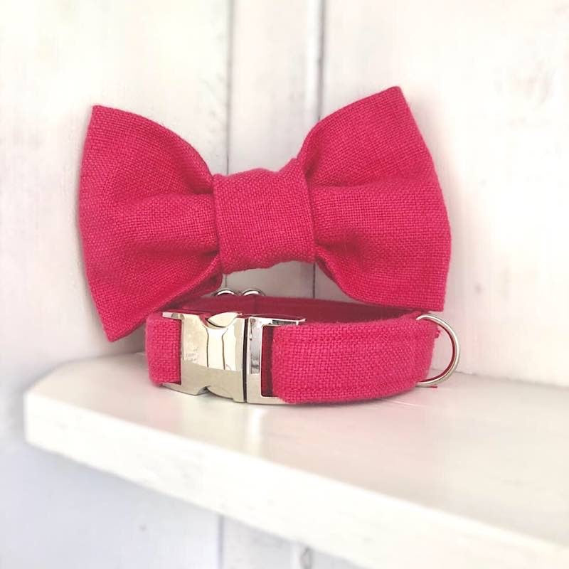Positively Pink Dog Bow Tie Collar - The Candy Dogs