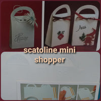 mini shopper scatole fustellati carta cartoncino scrapbooking abbellimenti decoupage