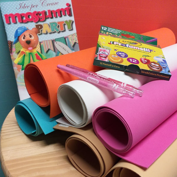 kit idee per creare moosgummi party libretto cartamodelli stafil colori assortiti gomma crepla eva kit pastelli a cera profumati 12 crayola profumelli fogli fommy