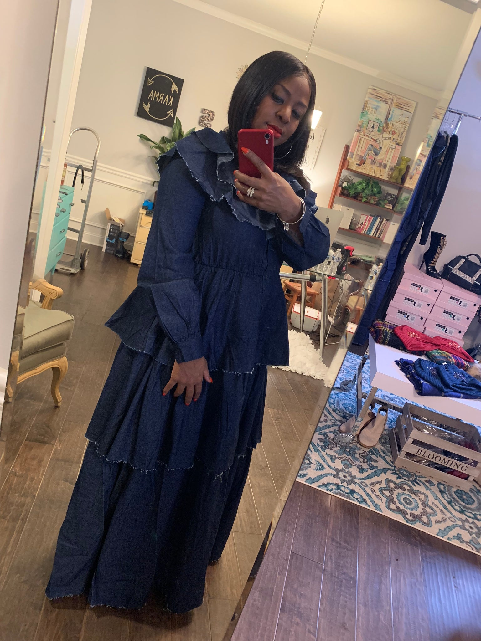 Denim Ruffled Chandelier Maxi Dress: Sizes S-3X