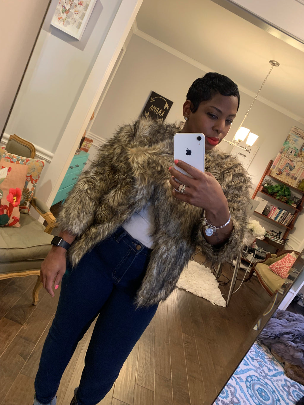 Faux Fur Jacket: Size XS