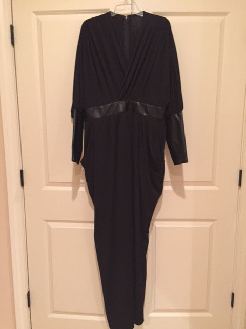 EXCLUSIVE NEW ARRIVAL by Tasha Cobbs!! Black/Leather Detail Evening Dress: Size 2X
